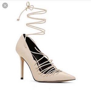 Aldo nude lace up nanna heels